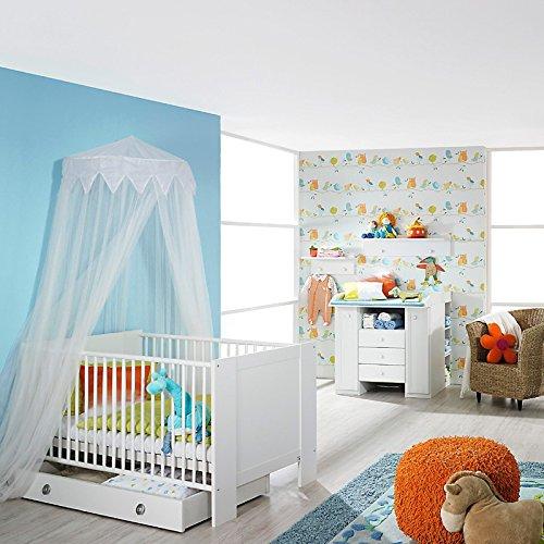 Babyzimmer Set weiß Babymöbel Babybett Wickelkommode Wandboard Bettkasten