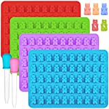 IHUIXINHE Moldes de silicona para caramelos, 4 unidades, colorido, con 2 cuentagotas, para hacer caramelos, gelatina, galletas, chocolate y hielos de sabor, 50 cavidades por bandeja