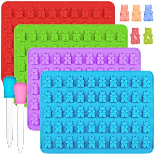 IHUIXINHE Silikon Gummibärchen Süßigkeit-Silikon-Formen & Eiswürfel-Tabletten - Set aus 4 Gummibären-Formen und 2 Dropper für Schokolade,Jelly,Sirup, Seifen-Formen
