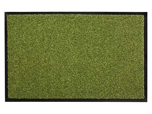 Primaflor - Ideen in Textil Schmutzfangmatte Fußmatte Green & CLEAN – 90x150 cm, Grün, Waschbare, rutschfeste Sauberlaufmatte, Eingangsmatte Haustür Innen & Außen, Türvorleger aus Recyceltem Material