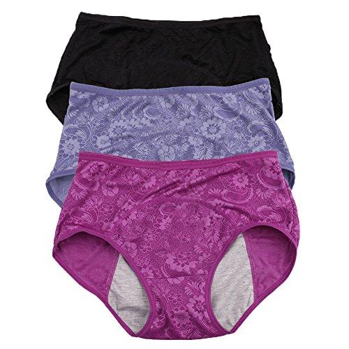 Damen-Menstruationslip, Jacquard-Muster, leicht zu reinigen, Multipack Gr. 4X-Large/37, Schwarz, Blau, Violett