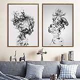 KWzEQ Arte Abstracto Mujer Lienzo Pintura Lienzo Arte Cartel y decoración Interior impresión,Pintura sin Marco,30X45cmx2