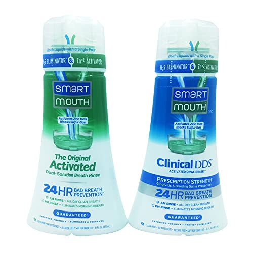 SmartMouth Original Activated & Clinical DDS Mouthwash, Bad Breath, Gums Aid, 16 fl oz Each
