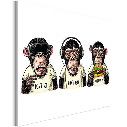 Revolio 40x30 cm Leinwandbild Wandbilder Wohnzimmer Modern Kunstdruck Design Wanddekoration Deko Bild auf Leinwand Bilder 1 Teilig - DREI Affen Kopfhörer braun