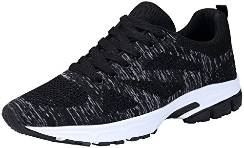 KOUDYEN Herren Damen Sneaker Trekking Running Fitness Laufschuhe Low Top Mesh Turnschuhe 36-46 Schwarz Blau Grau Rot,fz888-black-EU38