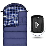 Sleeping Bag XL for Adults, Cotton Flannel Sleeping Bags Great for 4 Season Camping, Waterproof, Comfort with Compression Sack Traveling, Hiking, & Outdoor Activities