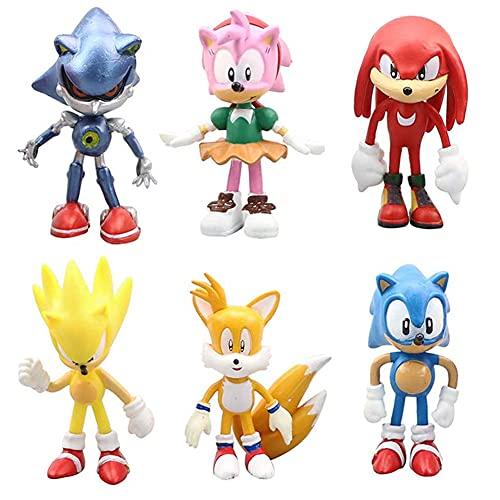 Hilloly 6 pcs Sonic Cake Topper Figuras Decoración De Pastel De Sonic Hedgehog Cumpleaños de Dibujos Animados Mini Figuras Decoración del Hogar para Cumpleaños de los Niños