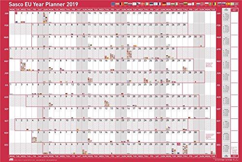 Sasco 2019 Poster Style EU Jahr Wandkalender mit Stickerpack, Feuchttuch Filzstift & Pen Clip (W915 x H610mm)
