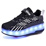 Zapatos con Ruedas Zapatillas con Dos Ruedas para niños y niña retráctiles para Patinar al Aire Libre, Zapatillas Deportivas con Luces LED Intermitentes