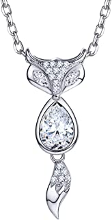 925 Sterling Silver Cubic Zirconia Citrine Cat Kitty Fox Pendant Necklace with Gift Box