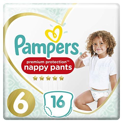 Pampers Größe 6 Premium Protection Baby Windeln Pants, 16 Stück, Tragepack, Weichster Komfort Und Schutz (15+kg)