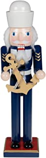 Clever Creations Traditional Wooden Sailor Nutcracker Decoration Blue and White Uniform | Carrying Ship's Anchor | Premium Festive Christmas Decor | 15