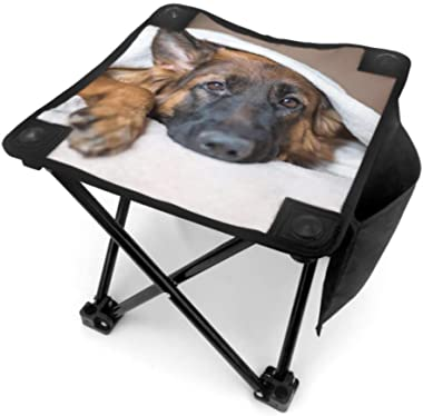 WBSNDB Folding Stool Fish Folding Chair Cute German Shepherd in A Blanket On Bed Picture I Lightweight Folding Chair Fishing