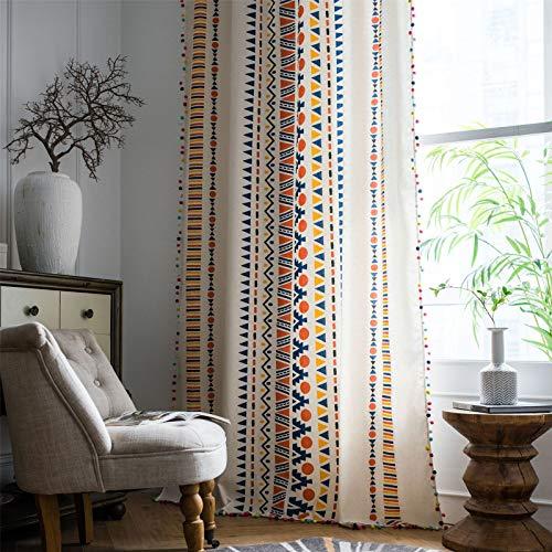FACWAWF Cortinas, Estampados de algodón y Lino, ovillos de Colores Americanos, Estilo Bohemio, Cortinas de Estilo campestre 150x260cm(1pcs)