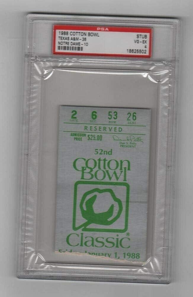 1988 Memphis Mall Cotton Free shipping on posting reviews Bowl Ticket Texas AM PSA v Aggies Notre Dame Irish