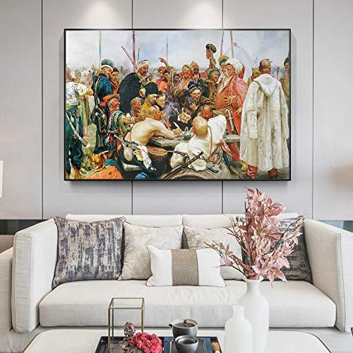 Agxdsq Pintura de Diamante 5D para niños Los cosacos contra el Imperio Otomano(Diamante Redondo sin Marco) 40x60cm