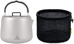 SilverAnt Titanium Ultralight 1.4 Litre/47.33 fl oz Large Kettle with Anti-Scalding Braided Cord Handles and Internal Filter For Camping Backpacking Hiking Home Use Including Induction Cooking with Me