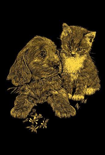 Mammut 131006 - Kratzbild Mini-Hund und Katze, ca. 11 x 18 cm, gold