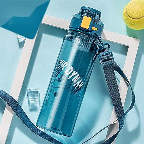 Botella deportiva, correa de mano oculta, con correa de hombro, botella de agua portátil, fácil de beber con filtro, free BPA, plástico tritano, duradero y a prueba de fugas, adecuado para deportes, a