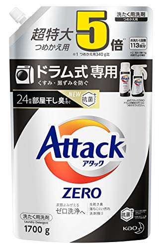 Attack Zero Laundry Detergent, Liquid for Drum Types, 5.7 lbs (1,700 g), Approximately 5 Times