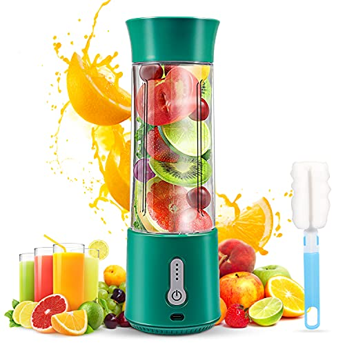Portable Blender,Blender for Shakes and Smoothies,Anzid Rechargeable Portable Blender Personal,17 Oz Travel Mini usb blender cup,4000mAh Sports Fruit veggie Juicer with Six Blades (green)