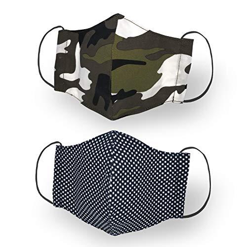 Kanguru Green Mask, set 2 pezzi, mascherina facciale, 100% cotone, lavabile, riutilizzabile, per bambino/ragazzo 6-12 anni