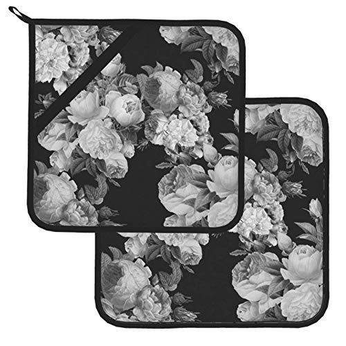 Black and Gray Large Floral 100% Cotton Set of 2 Pot Holders with Loop Heat Resistant for BBQ | Cooking | Baking | Grilling | Microwave | Barbecue | Four Season (8 Inch X 8 Inch)