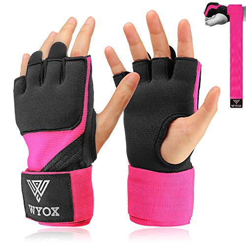 Hand Wraps Boxing Inner Gloves - Gel Elasticated Padded Bandages Mitts Long Wrist Support for MMA Muay Thai Kickboxing Martial Arts Training | Fist Protector (Pink, X-Small)