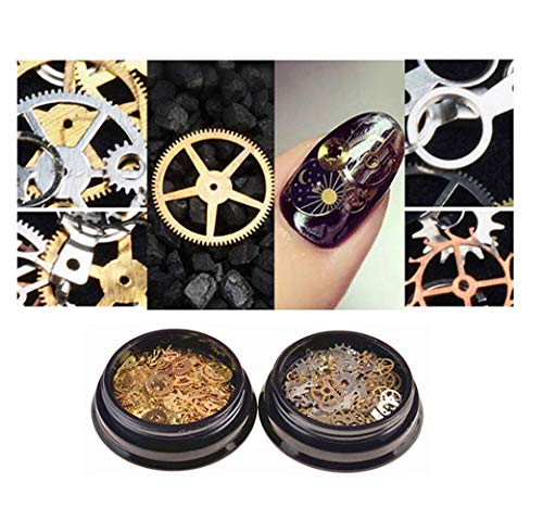 2 box per order;Material:Alloy Metal;Retro and gold style for you choosing; Ultra-thin 3D punk gears nail decorations,100 pieces-150 pieces per box.Each box with about 16 different patterns to meets your different requirements.Enough to apply and dec...