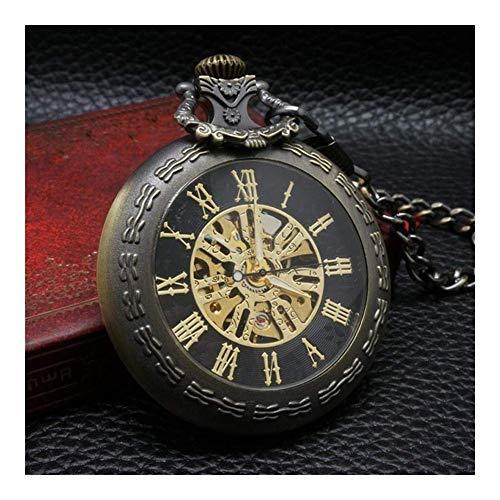 HCFSUK Reloj de Bolsillo con Estilo clásico.Reloj de Bolsillo - Reloj de Bolsillo Vintage Reloj de Bolsillo mecánico con números Romanos Esqueleto de Bronce Steampunk, Reloj de Bolsillo para hombr