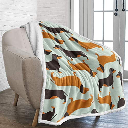 WONGS BEDDING Dachshund Sherpa Blanket for Kids Teens Adultos Soft Warm Fleece Manta sólida para Cama, sofá y Viaje 130x150cm