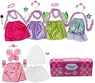 Girls Dress up Trunk Princess,Mermaid,Bride,Pop Star, Ballerina,Fairy Costume Set for Little Girls Toddler 3-6yrs