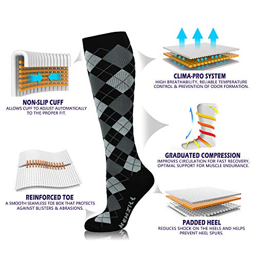 NEWZILL Men & Women's Compression Socks for Athletic, Nurses, Shin Splints, Maternity & Flight Travel, Black Gray Argyle - Large (1 pair)
