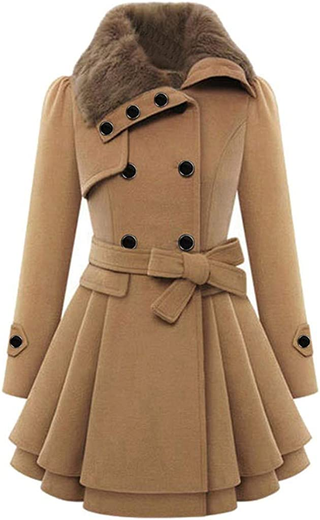 Misaky Women's Winter Coats Solid Color Plus Size Double Breasted Trench Mid-Length Wool Coat with Belt