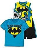 DC Comics Tenue Ensemble 3 Pièce Batman - T-Shirt, Débardeur et Short - Garçon, Jaune 2 Ans