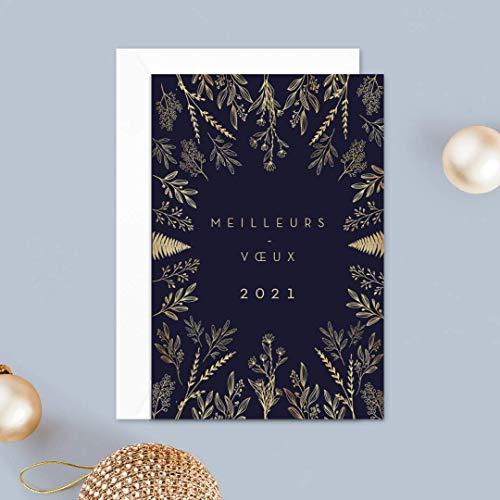Carte de voeux 2021 • Élégantes et Festives • Lot de 16 Cartes • Papier haut de gamme • 16 Enveloppes Blanches • 12x17 cm Pliée • Idéal pour souhaiter la Bonne Année • Popcarte (Fleurs Dorées)