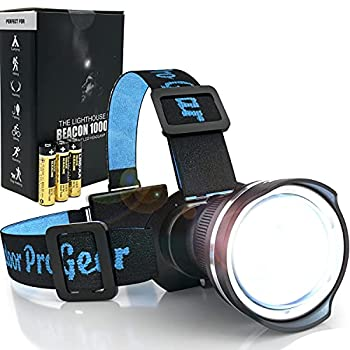 Outdoor Pro Gear LED Headlamp Flashlight [3-AA Batteries Included] Magnifying Lens Head Lamp for Hiking Fishing Hunting Camping Super Bright Spotlight Headlight Emergency Supplies  BLACK