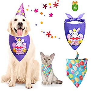 VivianAI 2 PCS Easter Dog Bandana Reversible Triangle Bibs Pet Scarf Accessories with Egg and Bunny Pattern for Medium to Large Dogs