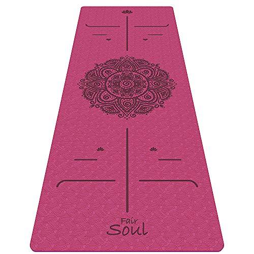 Fair Soul - Tappetino Yoga in TPE Antiscivolo ed Ecologico con Sistema di Allineamento e Grafiche incise a Laser. Dimensioni 183 cm x 61 cm x 6 mm. Inclusa Yoga Bag per Il Trasporto. (Pink Mandala)