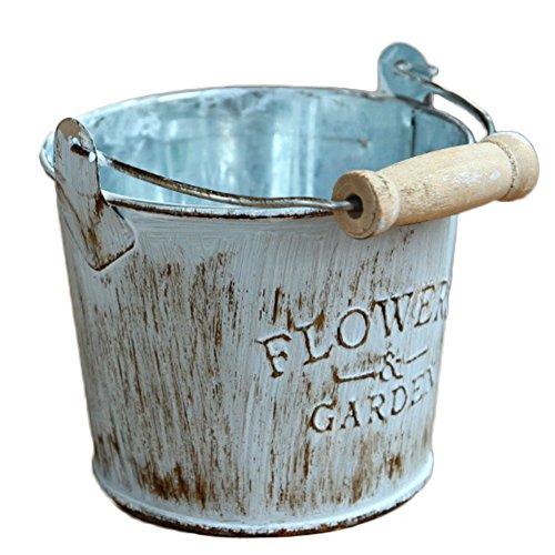 Qifumaer Pot de Fleur Petit Fer Baril Fer Blanc Mini Seau Balcon Jardin Pot de Fleurs Cadeau Size 8 * 10CM