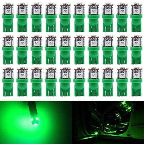 Paquete de 30 - Verde 194 T10 168 2825 W5W 175 158 Bombilla 5050 5 SMD Luz LED, 12V Iluminación interior del coche Para Luz del Mapa Hazme Bombillas de Salpicadero Luces de matrícula Laterales