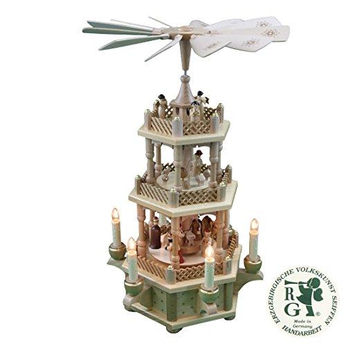 Glässer 16715 Pyramide Christi Geburt Natur, 2-stöckige elektrisch beleuchtete Weihnachtskrippe in Handarbeit gefertigt, Höhe: 45 cm