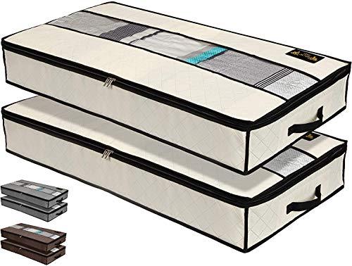 LACAZO 2er Set Unterbettkommode - 100x50x15cm Unterbett Aufbewahrungstaschen - wasserdichte Aufbewahrungsbox aus Stoff - dreilagiger Verbundvlies- Verstauen und Aufbewahren von Bettwäsche und Kleidung