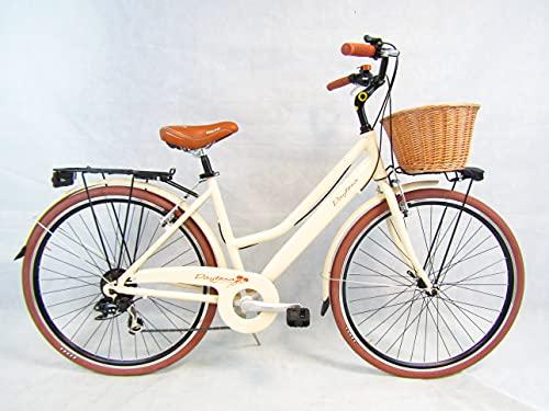 bicicletta da donna bici 28'' city bike in alluminio beige vintage retro' cesto in vimini Daytona