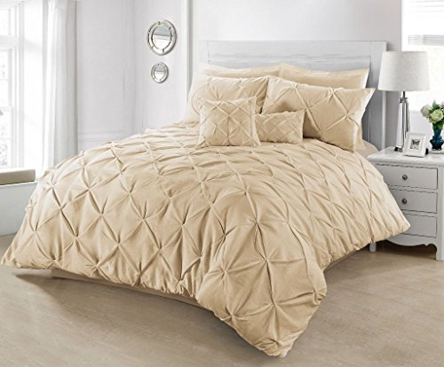 Linen Galaxy Value Added Pintuck Polycotton Duvet Quilt Cover with Pillow Cases Bedding (Mocha, Double)