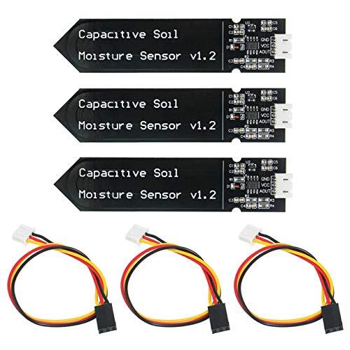KeeYees 3 Piezas Módulo Sensor de Humedad del Suelo Capacitivo - Módulo de detección de Humedad Resistente a la corrosión de Alta sensibilidad para Arduino
