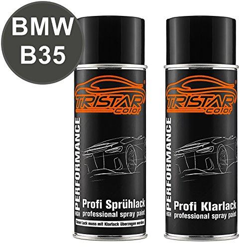 TRISTARcolor Autolack Spraydosen Set für BMW B35 Orbitgrau Metallic Basislack Klarlack Sprühdose 400ml