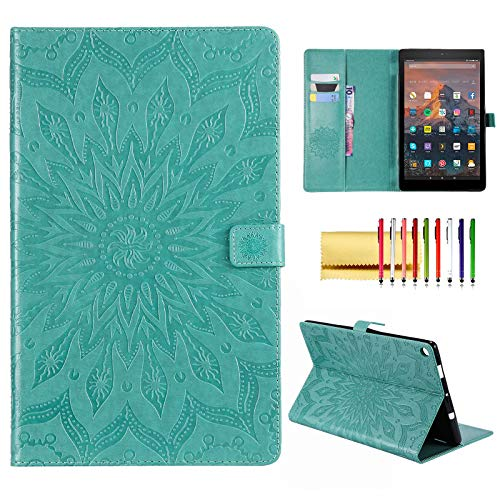 Folio Case for Fire HD 10 (9th/7th/5th Generation, 2019/2017/2015 Release), Techcircle Sunflower Embossed Stand Protective Cover with Card/Cash Holder, for Amazon Fire HD 10.1 Inch Tablet, Green