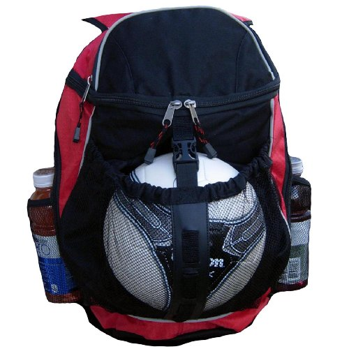 Fashion Helpers Red and Black Sport Backpack Athletic Bag with Ball Pocket, Basketball, Soccer, Futbol, Football, Volleyball