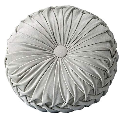 Timagebreze Round Floor Velvet Pumpkin Pleated Cushion Pouf Cover Throw Pillow Home Sofa Mat(Light Gray)